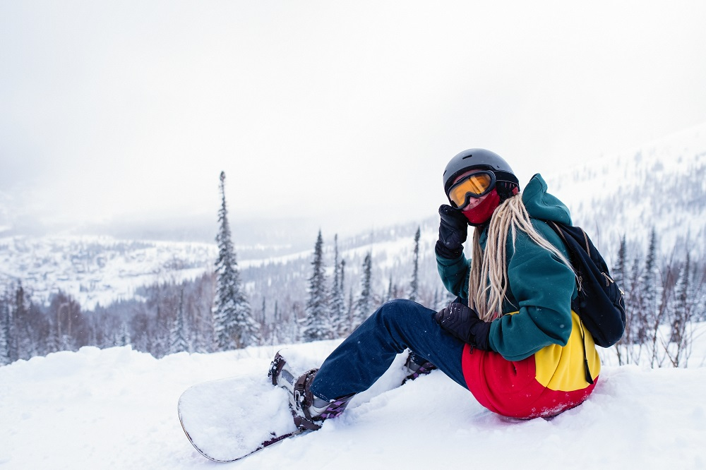 chilling snowboarder